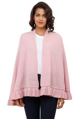 PLUCHI Womens Open Front Solid Poncho
