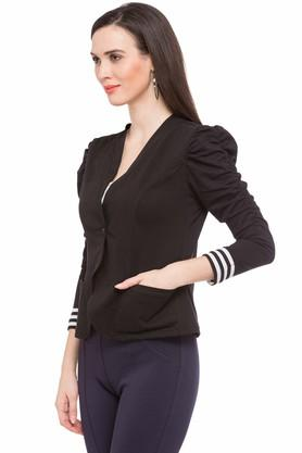 Womens Collared Solid Jacket