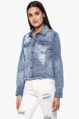 Womens 2 Pocket Distressed Jacket
