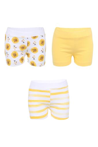 Boys Printed Solid and Striped Shorts - Pack of 3