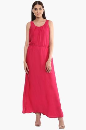 FRATINI WOMAN Womens Semi square Neck Solid Maxi Dress