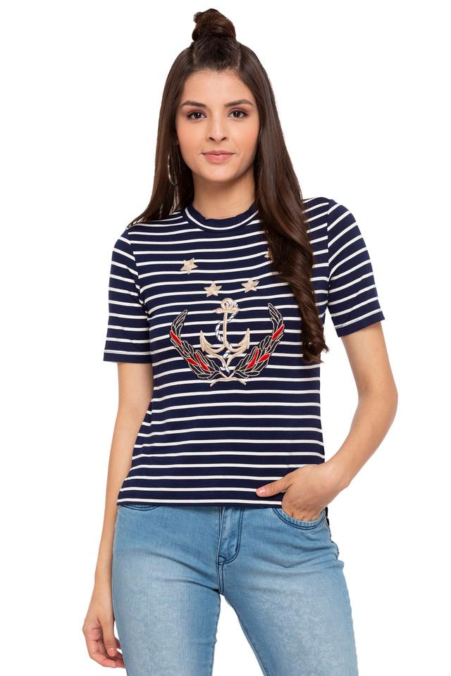 Womens Band Collar Stripe Embroidered Top
