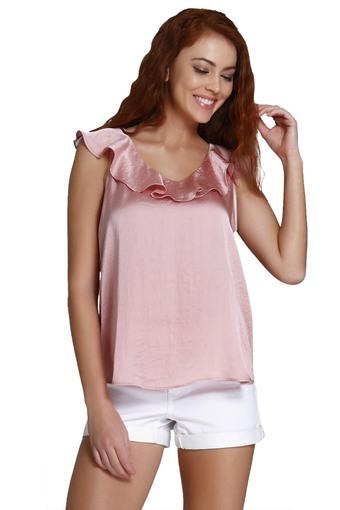 sale usa online utterly stylish best place Buy VERO MODA Womens V Neck Solid Ruffled Top   Shoppers Stop