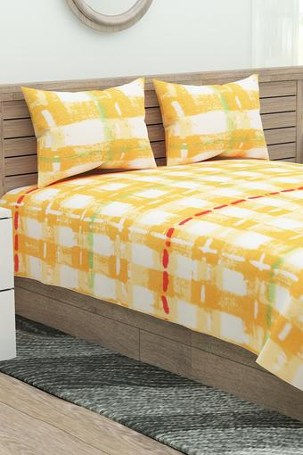 Check Double Bed Sheet with Pillow Cover