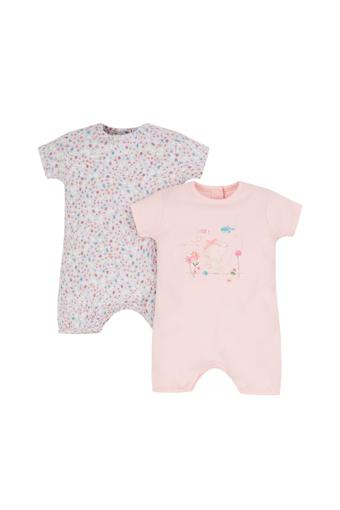 Girls Round Neck Printed Rompers - Pack Of 2