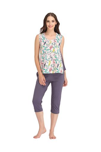 Womens Printed Top and Solid Capris Set