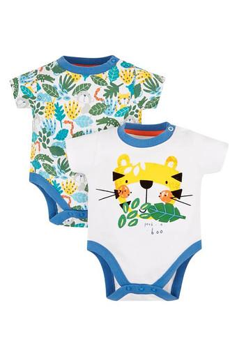 Kids Round Neck Printed Babysuit - Set of 5
