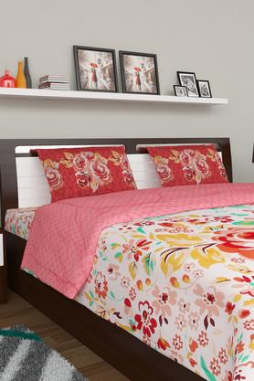 PORTICO Floral Print Double Bedsheet With 2 Pillow Covers - 203359114_9900