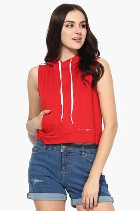 LOVE GENRATIONWomens Solid Hoody Sweatshirt