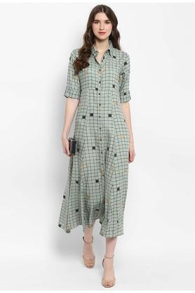 09bd0fd4eb29 Buy VARANGA Womens Checked A-Line Dress