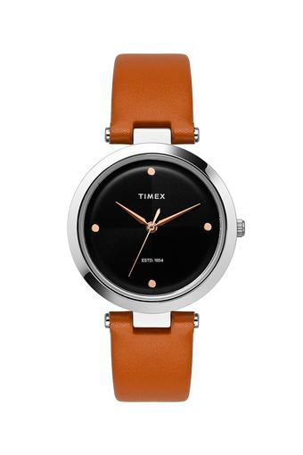 Womens Black Dial Leather Analogue Watch - TWEL11814