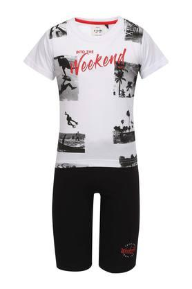 Boys Round Neck Printed Tee with Shorts