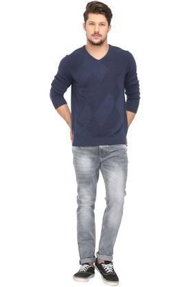 Mens V Neck Self Pattern Knitted Sweatshirt