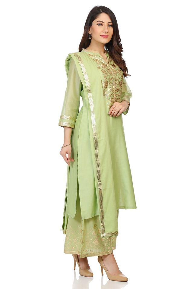 6ac0b282227 Buy BIBA Womens Mandarin Neck Embroidered Palazzo Suit