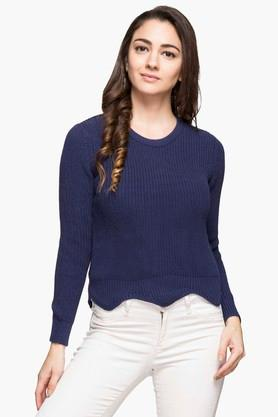 FRATINI WOMAN Womens Round Neck Slub Sweater