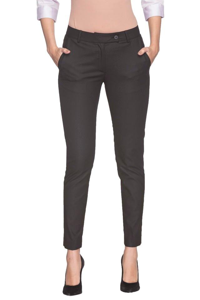 Womens 2 Pocket Solid Formal Pants