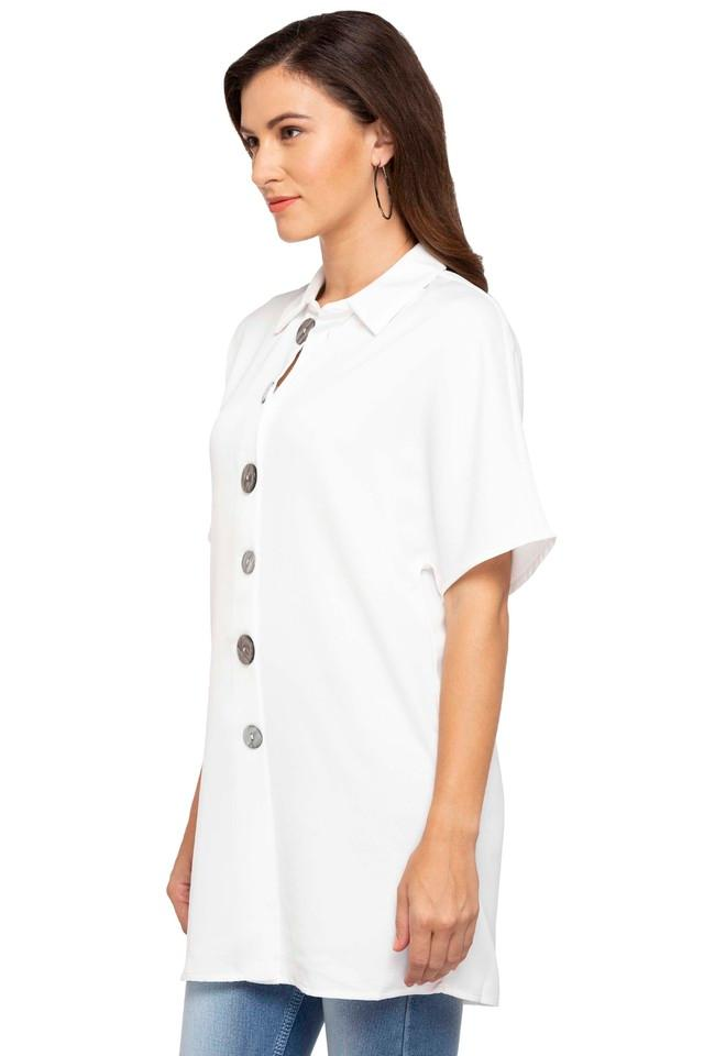 Womens Collared Solid Long Tunic