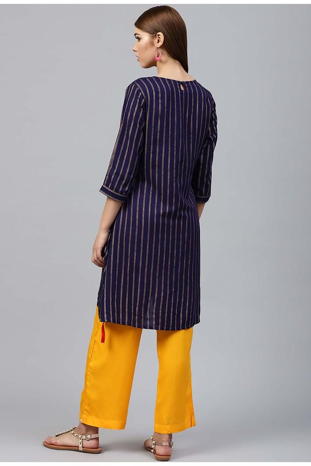 Womens Round Neck Stripe Kurta and Palazzo Set
