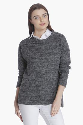 VERO MODA Womens Round Neck Slub Sweater