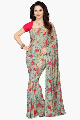 ISHIN Womens Faux Georgette Floral Printed Saree - 203260320_9463