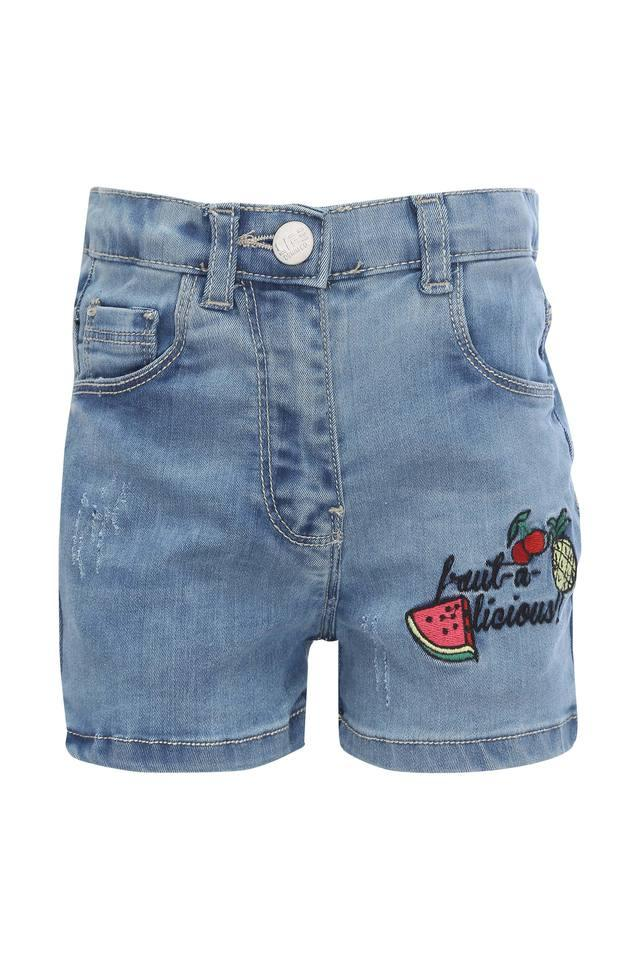 Girls 5 Pocket Embroidered Shorts