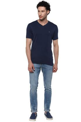 Mens V Neck Slub T-Shirt