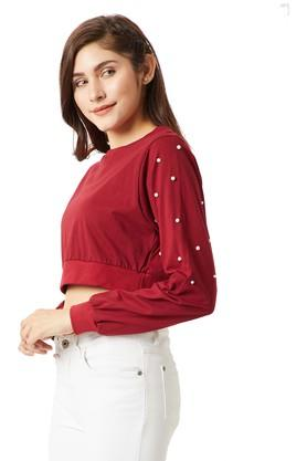 Womens Round Neck Solid Boxy Crop Top