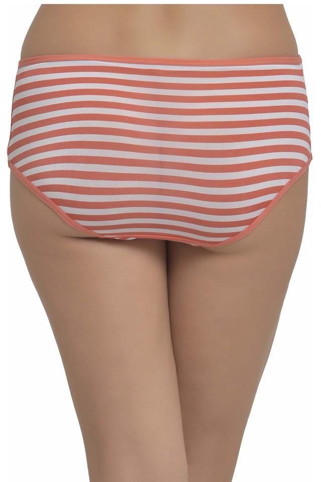 Womens Mid Waist Striped Hipster Briefs
