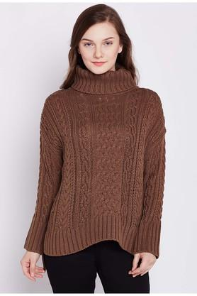COVER STORYWomens Turtle Neck Knitted Sweater