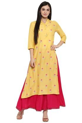 JUNIPER Womens Zari Embroidered Kurta With Palazzo
