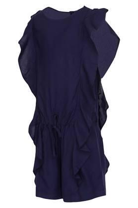 Girls Round Neck Solid Jumpsuit