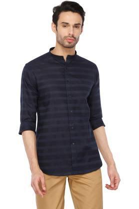 Mens Mao Collar Stripe Shirt
