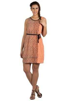 Womens Round Neck Printed Knee Length Dress