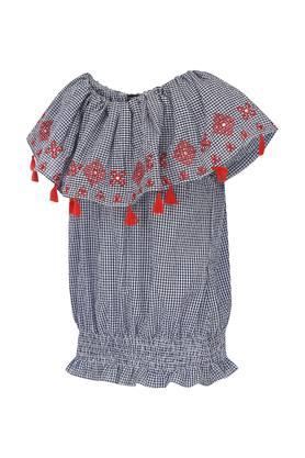 Girls Round Neck Embroidered Top