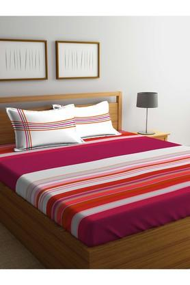 PORTICOStripe Double Fitted Bed Sheet With Pillow Cover - 203990064_9900