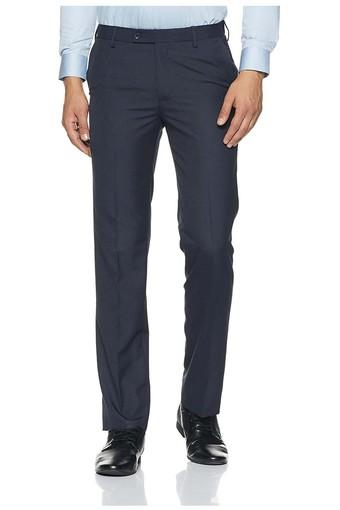 Mens Slim Fit 4 Pocket Solid Formal Trousers