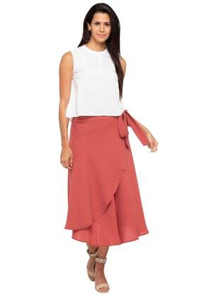 Womens Solid Layered Wrap Skirt
