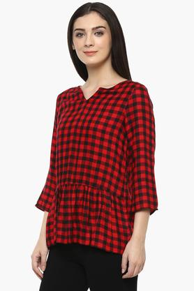 Womens Notched Collar Check Top