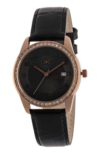 Womens Black Dial Leather Analogue Watch - KLW522E