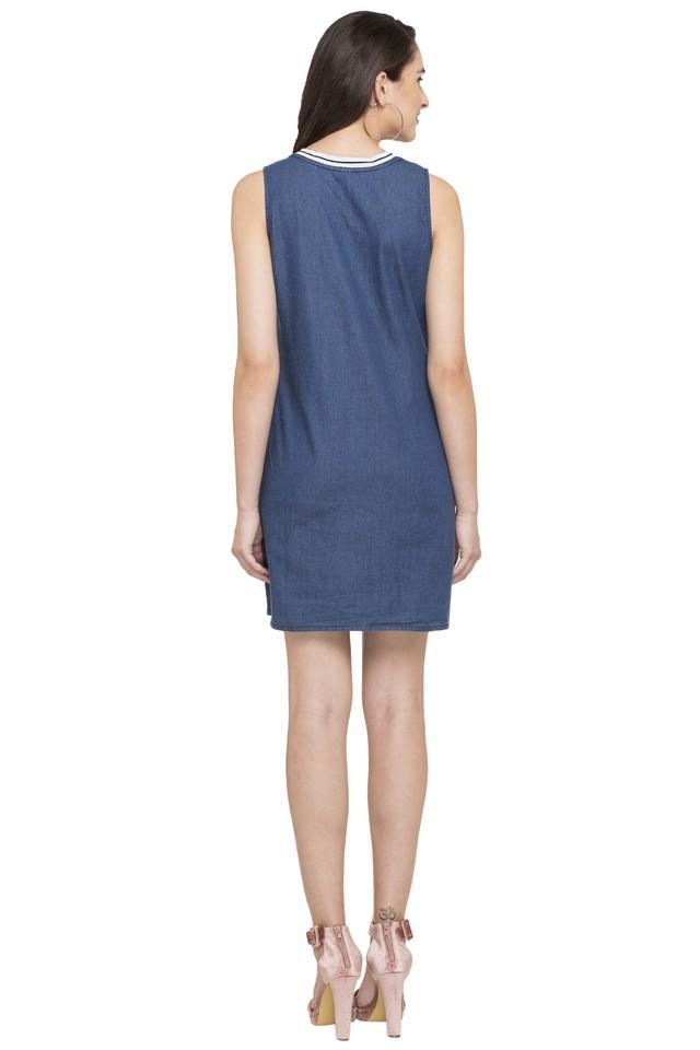 Womens V- Neck Printed A-Line Dress