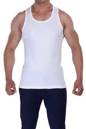 Mens Round Neck Solid Vest - Pack of 2