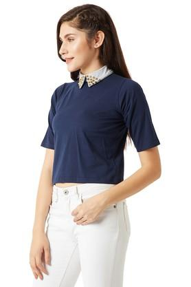 Womens Relaxed Fit Embellished Collared Solid Crop Top