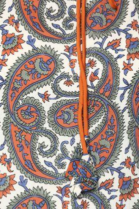 Womens Tie Up Neck Printed Kurta