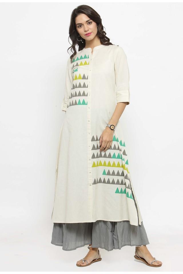 Women Cotton Geometric print A-line Kurta
