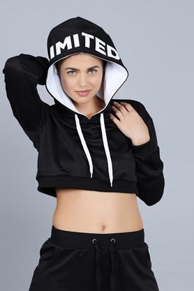 Womens Hooded Neck Solid Sweatshirt