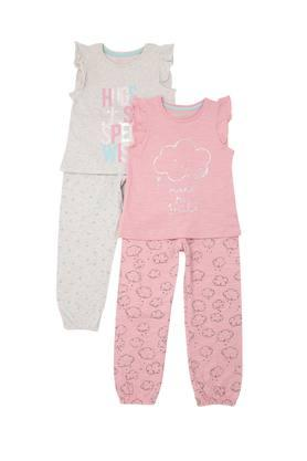Girls Round Neck Printed Top and Pants Set Pack of 2