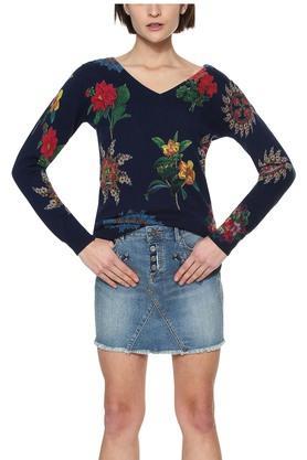 DESIGUALWomens V- Neck Floral Print Pullover