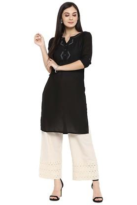 JUNIPER Womens Georgette Embellished Kurti With Hakoba Pant