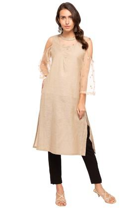 FUSION BEATS Womens Round Neck Embroidered Sheer Yoke Kurta