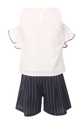 Girls Round Neck Solid Top and Shorts Set